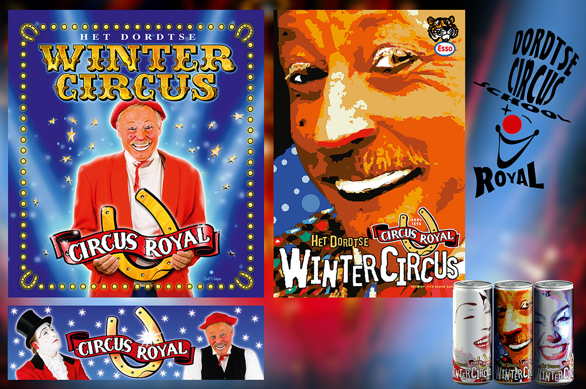Circus Royal Dordrecht - circusposters, vormgeving drukwerk (foto's Joop en Antonie Teuteberg: Harm ten Brink)