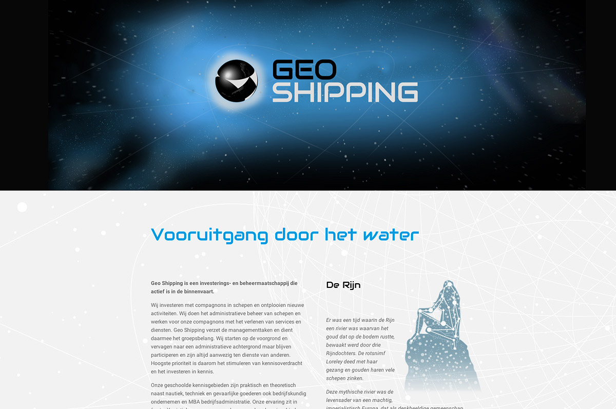 www.geoshipping.nl - website voor investerings- en beheermaatschappij Geo Shipping