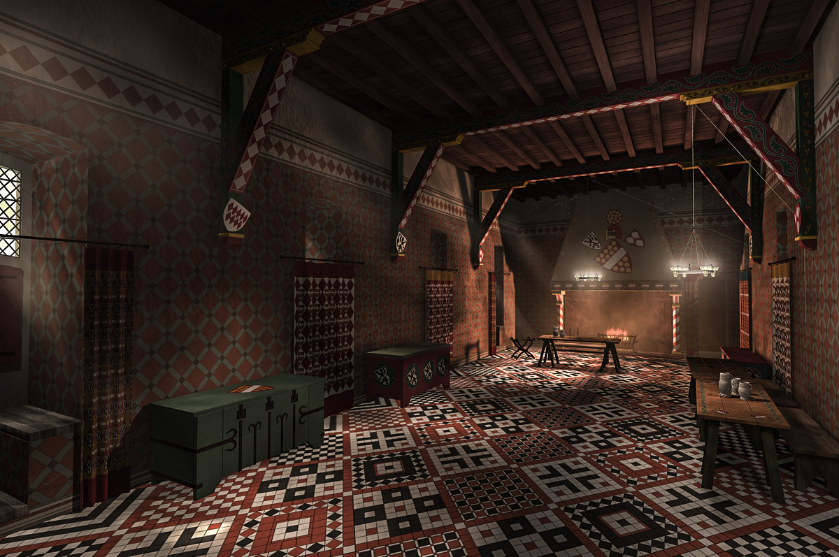 Huis Te Merwede, zaal - 3D-reconstructie gebaseerd op inrichtingsvoorstel door Historisch Adviesbureau 't Scapreel / Henk 't Jong