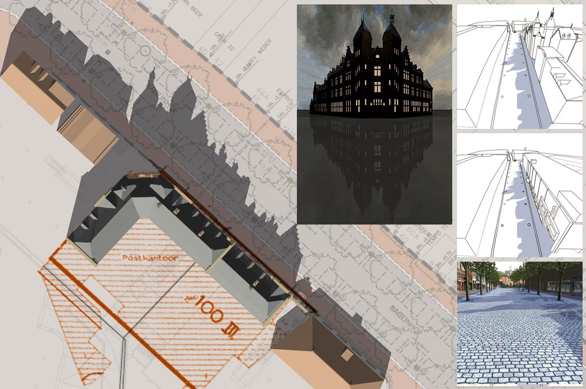 Voormalig Postkantoor Dordrecht - 3D-illustratie tbv schaduw op bestrating - voor project Theun Okkerse