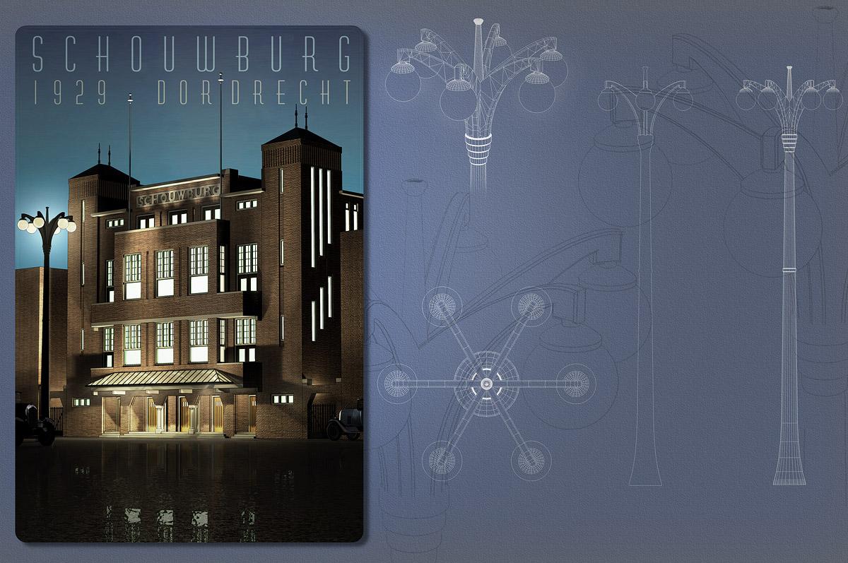 De niet gebouwde schouwburg Dordrecht - 3D-illustratie naar ontwerptekening van architect H.A. Reus