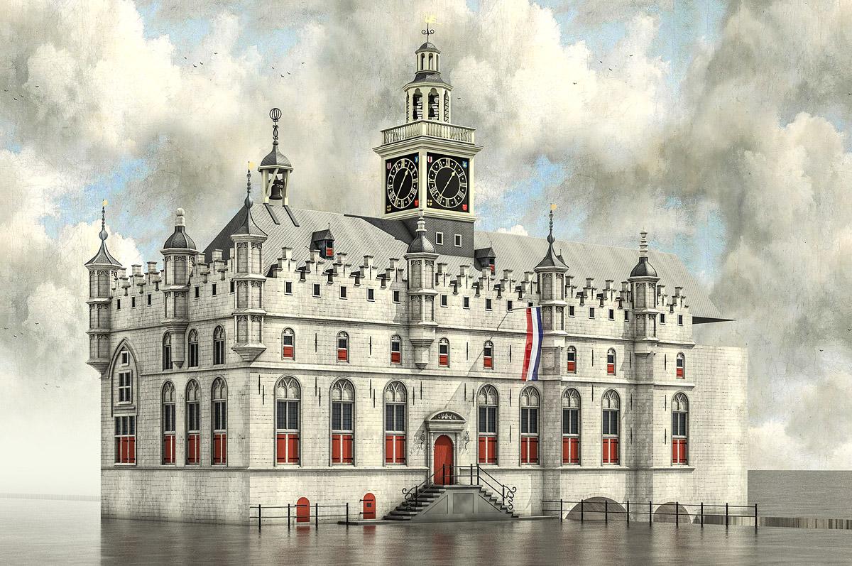 Stadhuis Dordrecht, reconstructie (work in progress) eind 17e eeuw