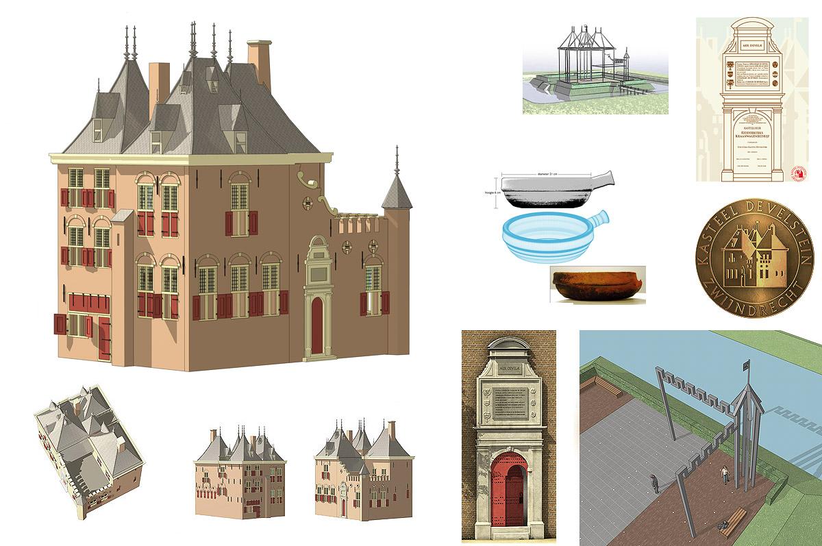 Reconstructie kasteel Develstein, Zwijndrecht - 3D-illustraties voor Stichting Kasteel Develstein