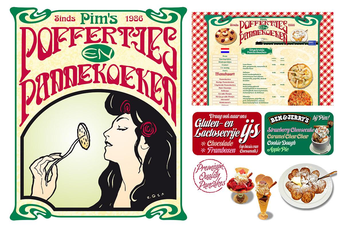 Pim's Poffertjes en Pannekoeken - vormgeving, website (www.pimspofenpan.nl), menukaarten, muurschildering