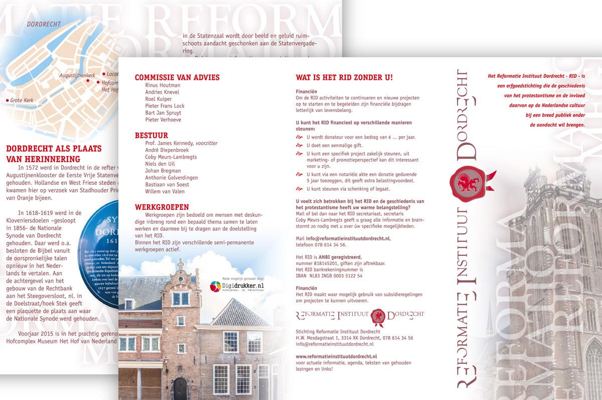 Reformatie Instituut Dordrecht - vormgeving folder