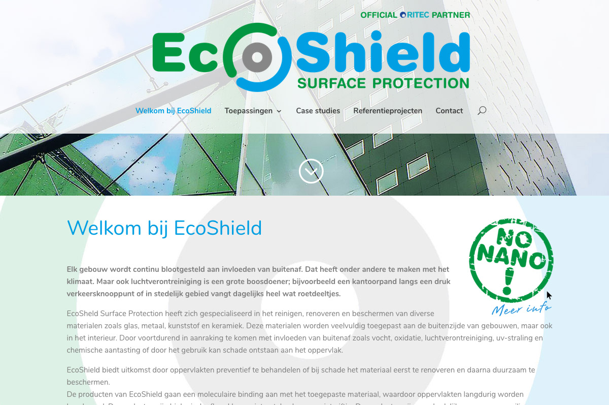 www.ecoshield.nl - website voor EcoShield surface protection