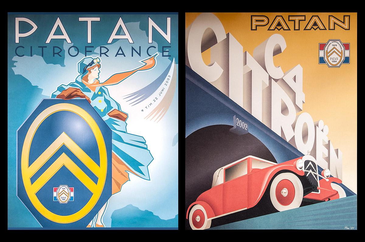 PATAN - achterwiel aangedreven Citroën automobielen - kalenderillustraties