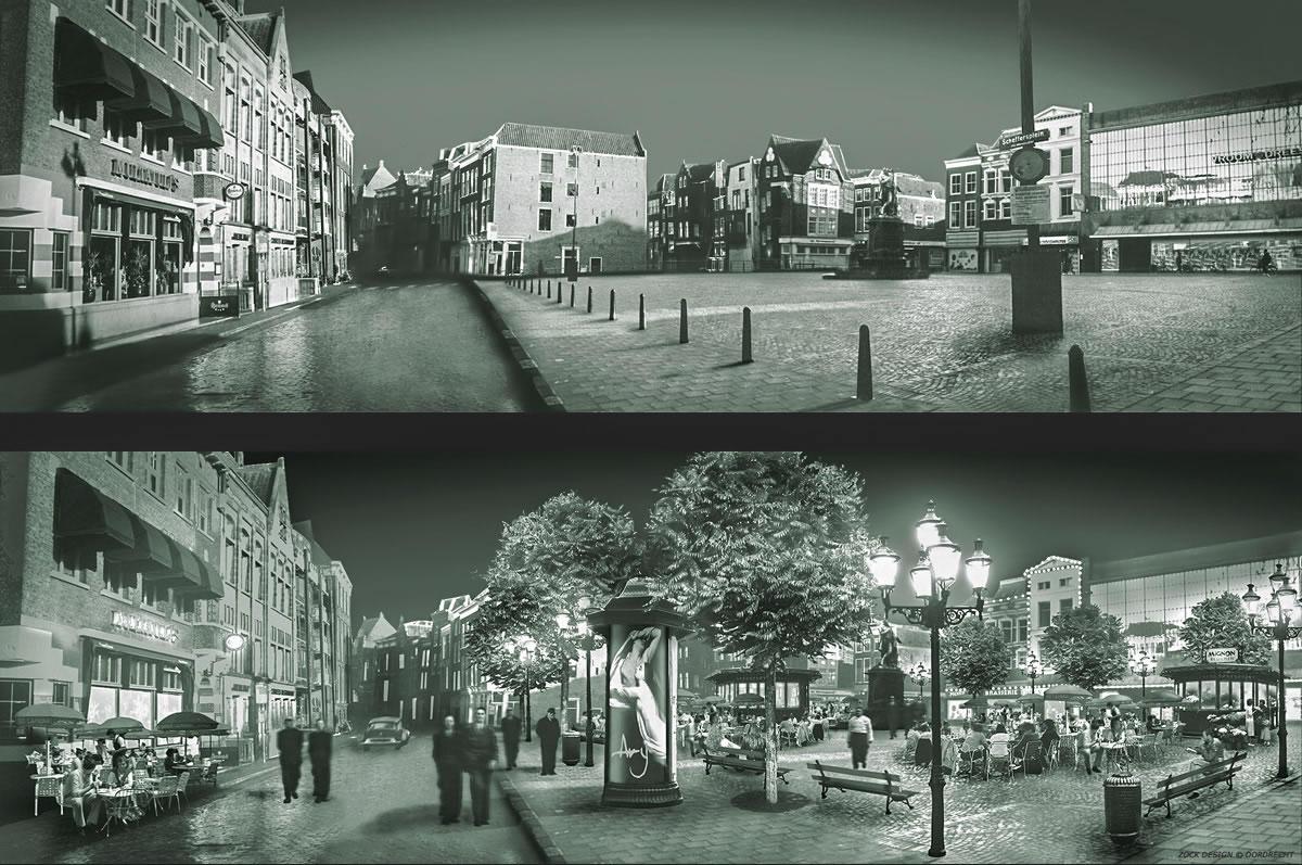 Voorstel inrichting terrassenplein - Scheffersplein Dordrecht, 1996