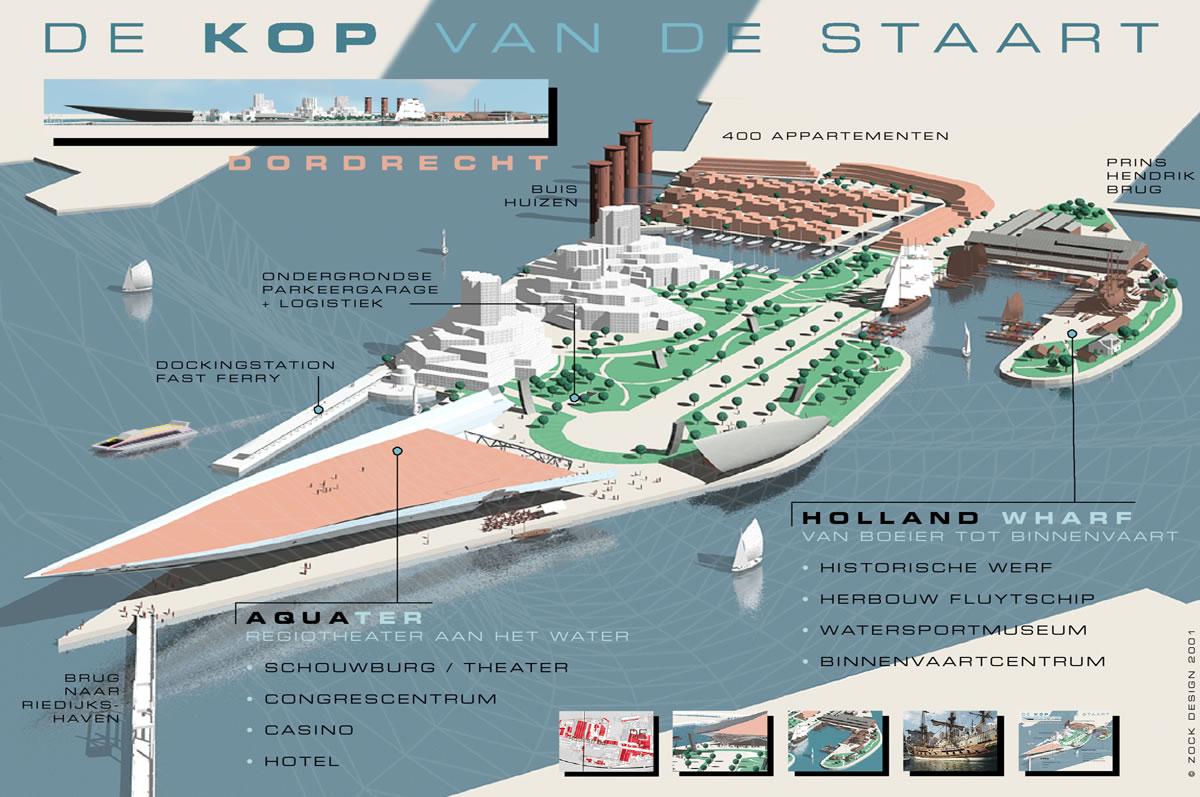 Ontwerp inrichting Kop van de Staart (Stadswerven) Dordrecht - 2001