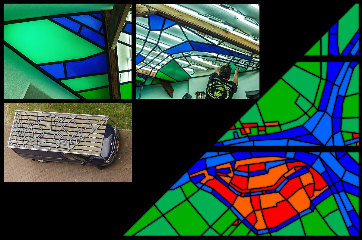 Ontwerp plafond kantine National Academic Dordrecht - perspex en aluminium (5 x 5 mtr), productie en montage VND-Neon Dordrecht