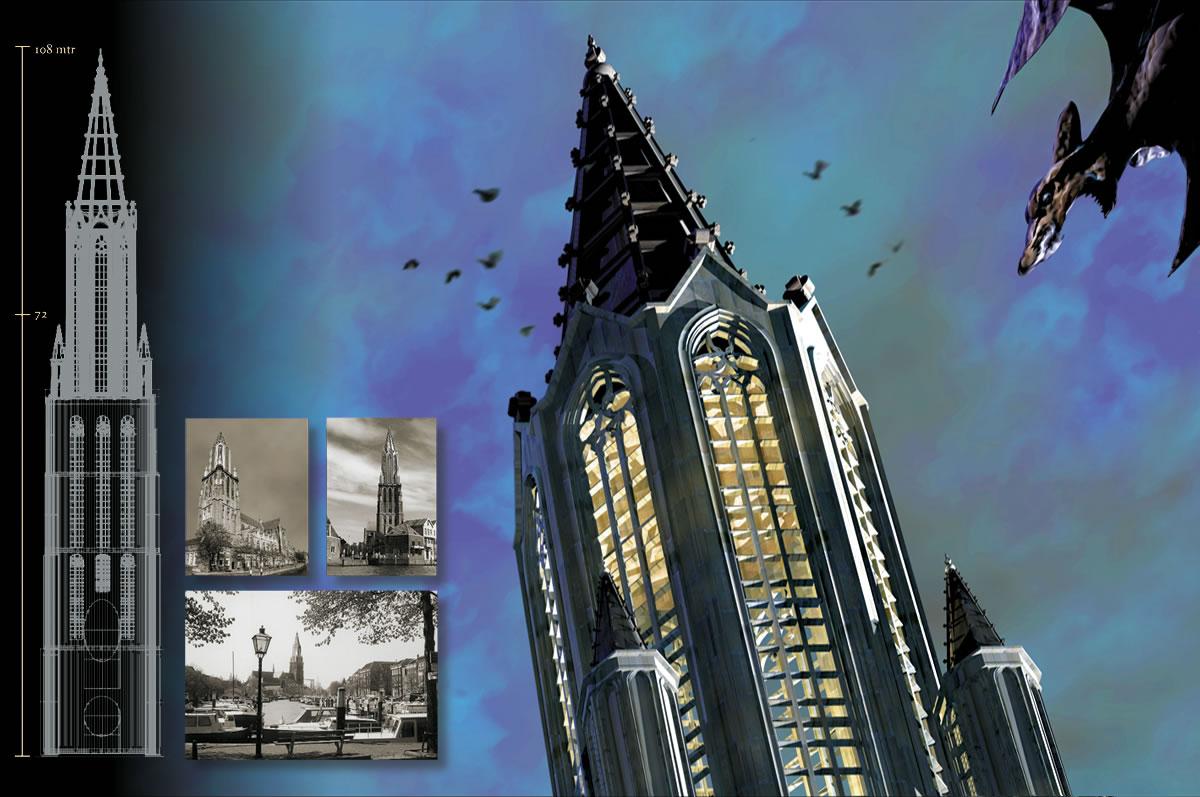 Kerktoren Grote Kerk Dordrecht - oorspronkelijk geplande lantaarn met spits (109 mtr.)