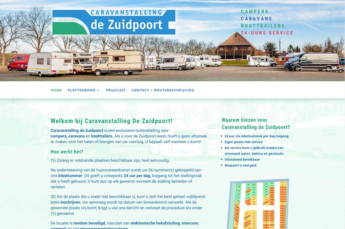 www.caravanstallingdezuidpoort.nl - website voor Caravanstalling de Zuidpoort
