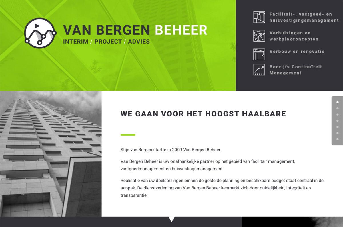 www.vanbergenbeheer.nl - website voor Van Bergen Beheer